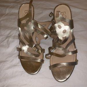 BCBG Gold Strappy heels